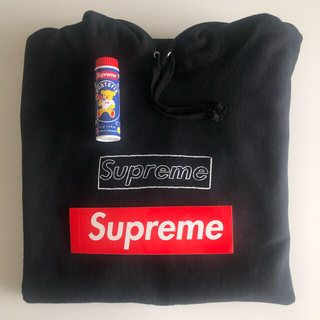 Supreme - KAWS Chalk Logo Hooded Sweatshirt ブラック