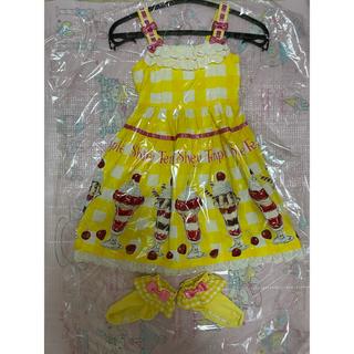 シャーリーテンプル(Shirley Temple)のシャーリーテンプル パフェ サンドレス 100 靴下15 イエロー セット(ワンピース)
