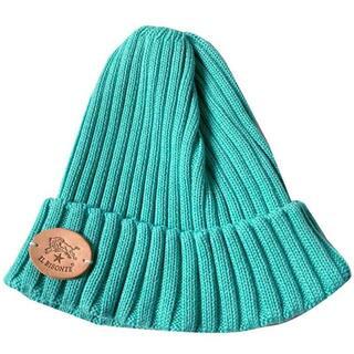 イルビゾンテ(IL BISONTE)のイルビゾンテ ニット帽 サマー ニットキャップ コットンリネン ミントグリーン(ニット帽/ビーニー)