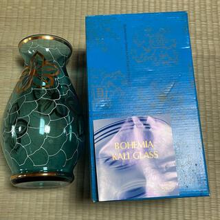 ボヘミア クリスタル(BOHEMIA Cristal)のボヘミアン ガラス BOHEMIAN 花瓶 金彩 緑 グリーン (花瓶)