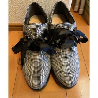 シマムラ(しまむら)のグレンチェック レースアップ厚底ブーツ 量産 地雷(ブーツ)