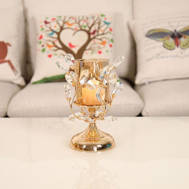 北欧 クリスタル キャンドルホルダー ゴールド キャンドル コスメ/美容のリラクゼーション(キャンドル)の商品写真