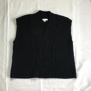 エイチアンドエム(H&M)のニットベスト ブラック Vネック 重ね着 H&M UNIQLO 春服(ベスト/ジレ)