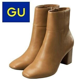 GU - 【新品・未使用】GU スクエアトゥヒールブーツ S