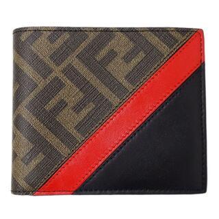 フェンディ(FENDI)のフェンディ ズッカ 二つ折り財布 札入れ PVC ブラウン ブラック レッド(折り財布)
