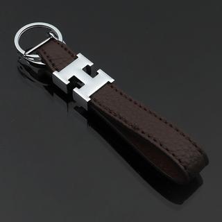 H型ロゴのキーホルダー/バッグチャーム ダークブラウン(キーホルダー)