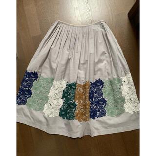 mina perhonen - ミナペルホネン  スマイルフラワー 豪華刺繍スカート  38 美品
