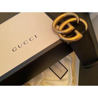 Gucci - Gucci GGバックル レザーベルト4cm幅
