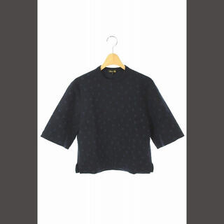 Drawer - ドゥロワー Drawer ニット カットソー ドット柄 五分袖 1 紺 /KN