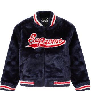 シュプリーム(Supreme)のsupreme faux fur varsity jacket Navy(ブルゾン)