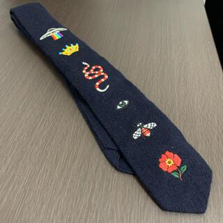 Gucci - 【グッチ GUCCI】ネクタイ 刺繍 蜂 ビー ヘビ スネーク テテ 濃紺