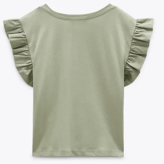 ZARA(ザラ)のフリルシャツ カーキ Tシャツ レディースのトップス(Tシャツ(半袖/袖なし))の商品写真
