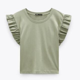 ZARA - フリルシャツ カーキ Tシャツ