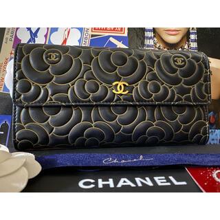 シャネル(CHANEL)の専用⭐︎ CHANEL カメリア ブラック×ゴールド フラップウォレット 長財布(財布)