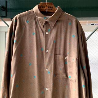 ART VINTAGE - 2000円セール⭕️90s 古着 レーヨンシャツ とろみ ウール混 総柄シャツ