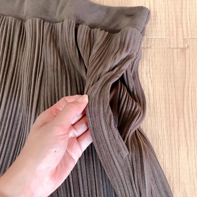 しまむら(シマムラ)のRii.com様専用 プリーツパンツ ブラウン L size レディースのパンツ(カジュアルパンツ)の商品写真