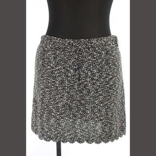 シャネル(CHANEL)のシャネル CHANEL 台形スカート ニット ミニ スカラップ 38 黒 ピンク(ミニスカート)