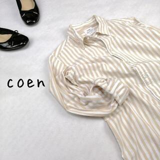 エムコーエン(M.Cohen)の【Coen】ストライプシャツ ベージュ アースカラー(シャツ/ブラウス(長袖/七分))