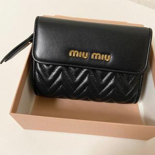 miumiu - miumiu 折りたたみ財布 ブラック