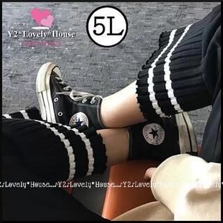 【~W110】【~4L(5L)相当】裾2本ラインカジュアルパンツ*黒