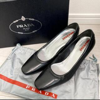 PRADA - 美品!プラダ 23.0 本革 イタリア製 ブラック ロゴ パンプス