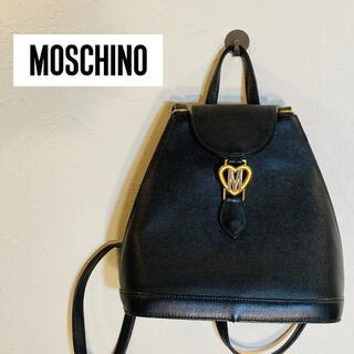 モスキーノ(MOSCHINO)の【美品】MOSCHINO モスキーノ レザーリュック ブラック(リュック/バックパック)