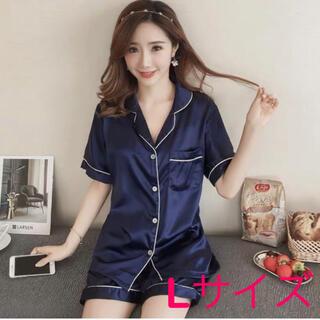 Lサイズ ブルー パジャマ セットアップ 半袖 シルクタッチ ルームウェア