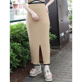 ムルーア(MURUA)のMURUA ムルーア ペンシル ニット タイト スカート ベージュ 新品(ロングスカート)