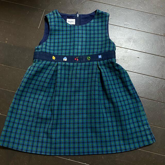 familiar(ファミリア)のファミリア90ジャンバースカート キッズ/ベビー/マタニティのキッズ服女の子用(90cm~)(ワンピース)の商品写真
