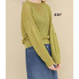 KBF - 新品 KBF ギャザースリーブシースルーニット