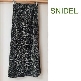 snidel - スナイデル 小花柄ロングスカート ブラック サイズフリー