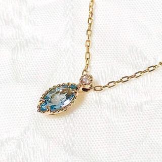 agete - agete アガット K10 アクアマリン ダイヤモンド ネックレス