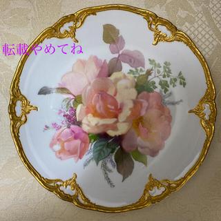 マイセン(MEISSEN)の【KPMベルリン】''印象主義様式の花絵付皿'' 金彩 金盛/「桃色の薔薇」(食器)