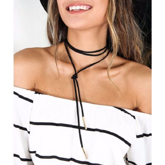 【新品】 チョーカー ボヘミアン ロングチョーカー ブラック ゴールド レディースのアクセサリー(ネックレス)の商品写真