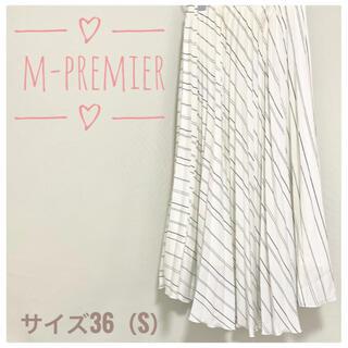 M-premier - M-premier  総ゴム 斜めストライプ サテンスカートホワイト サイズ36