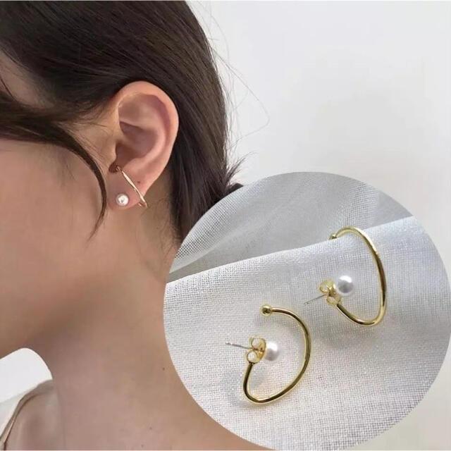 両耳 ピアス イミテーションパール ゴールド  レディース 韓国 レディースのアクセサリー(ピアス)の商品写真