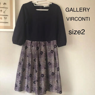 GALLERY VISCONTI - GALLERY VIRCONTI ワンピース 花柄 パープル size2