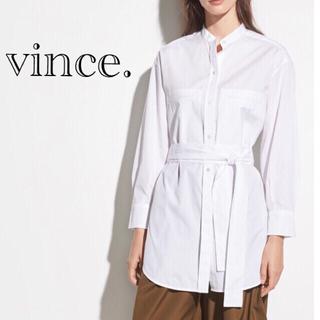 ビンス(Vince)の定価4.1万円*VINCE ヴィンス コットン オーバーサイズ ベルトシャツ(シャツ/ブラウス(長袖/七分))