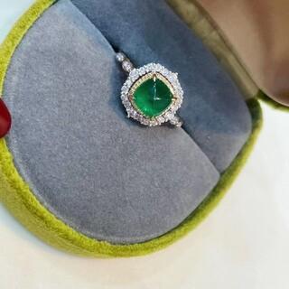 天然ダイヤモンド付きエメラルドリングk18