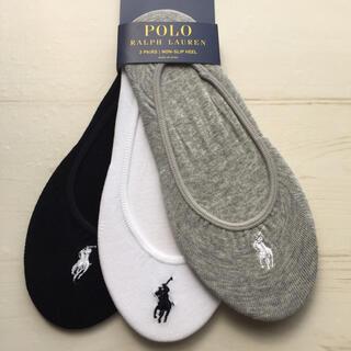ポロラルフローレン(POLO RALPH LAUREN)の新品 ラルフローレン レディースフットカバー 靴下 3足セット グレー 白 黒(ソックス)
