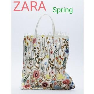 ZARA - ZARA【人気商品】フラワーエンブロイダリーチュールトートバッグ
