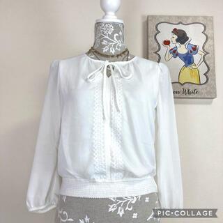 ANAYI - 【美品】アナイ anayi ブラウス白 刺繍、リボン付き