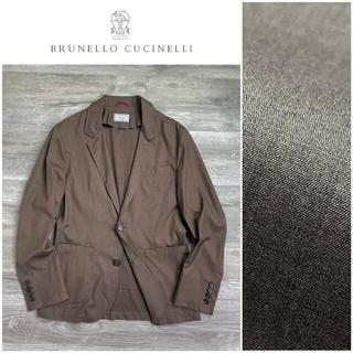 ブルネロクチネリ(BRUNELLO CUCINELLI)のA14 ブルネロクチネリ テーラードジャケット ウール シルク ブラウン XS(テーラードジャケット)