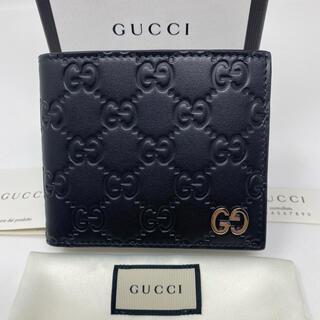 Gucci - 新品☺︎GUCCI グッチ 二つ折り財布 ブラック 黒 GG