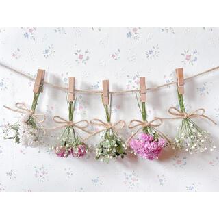 バラとかすみ草とユーカリのドライフラワーガーランド♡スワッグ♡ミニブーケ♡壁掛け(ドライフラワー)