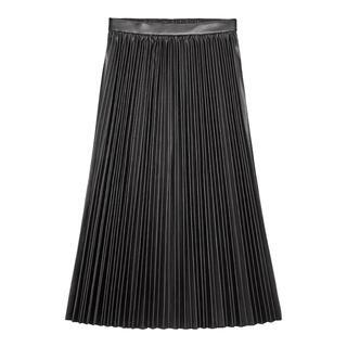 GU - GU フェイクレザープリーツスカート L ブラック