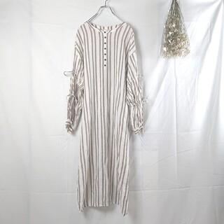 gelato pique - ジェラートピケ♥️綿麻ストライプドレス フリーサイズ ルームウェア
