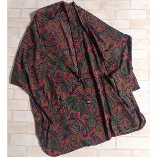グリモワール(Grimoire)の赤系 ペイズリー柄 エスニック 羽織り ゆったり ロング丈  ルーズシルエット (カーディガン)