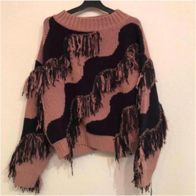 Lily Brown(リリーブラウン)のフリンジニット レディースのトップス(ニット/セーター)の商品写真