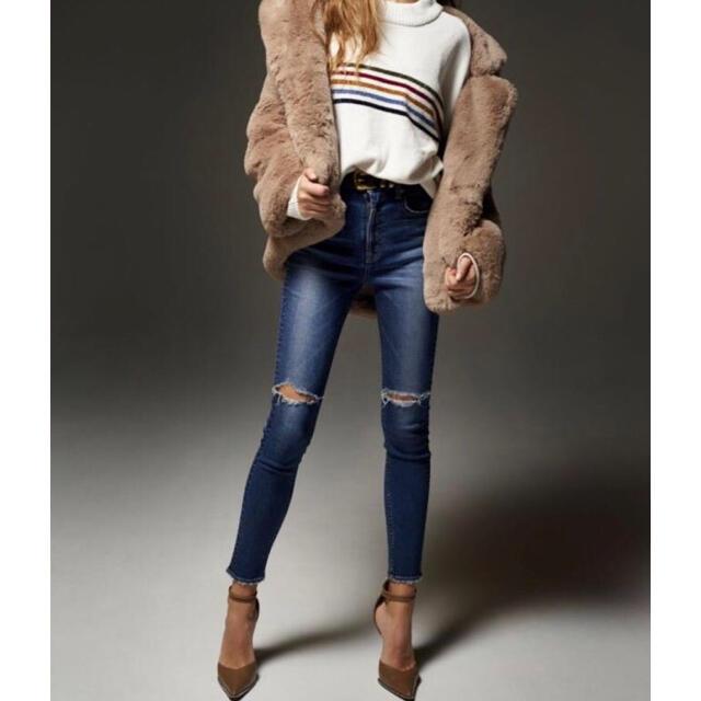 GYDA(ジェイダ)のGYDA ダメージハイウエストスキニーデニムパンツ 完売品 Sサイズ レディースのパンツ(デニム/ジーンズ)の商品写真